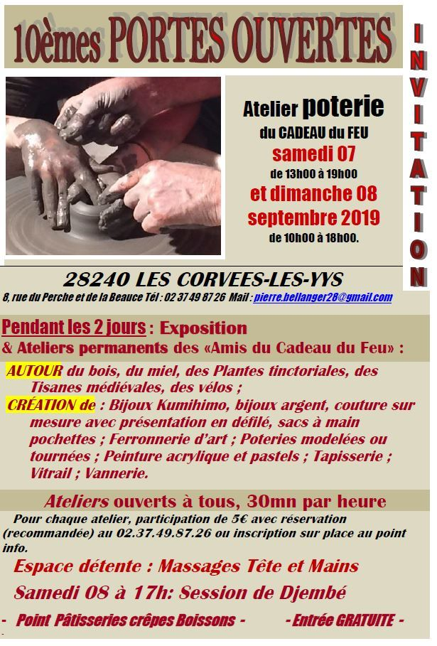 Portes ouvertes de l'atelier poterie : ateliers et exposition d'artisanat à LES CORVEES-LES-YYS © pierrebellanger
