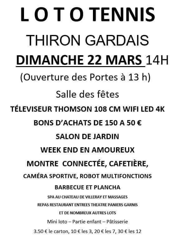 Loto à THIRON-GARDAIS © tennis club