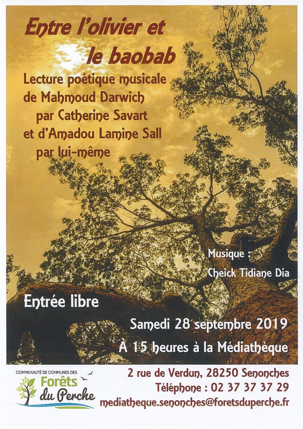 Entre l'olivier et le baobab – lecture poétique – Musique autour de la kora à SENONCHES © médiathèque senonches