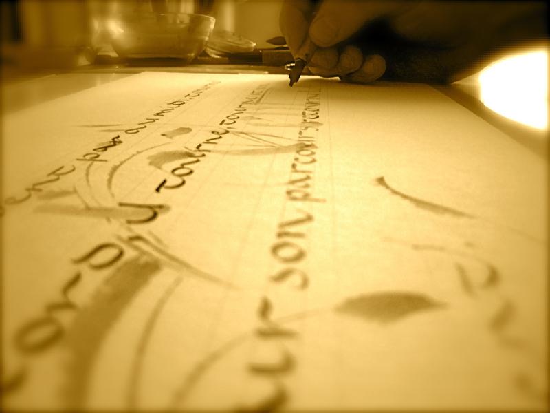 Atelier de calligraphie à CHAMPROND-EN-GATINE ©  Eric Montigny Calligraphe