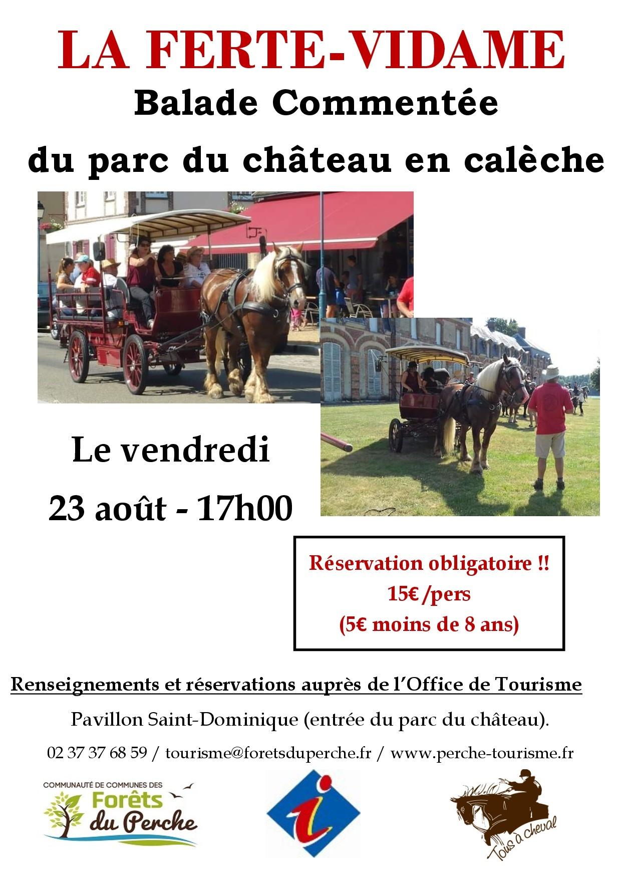Balade commentée en calèche dans le parc du château de La Ferté Vidame à LA FERTE-VIDAME © office de tourisme des forets du perche