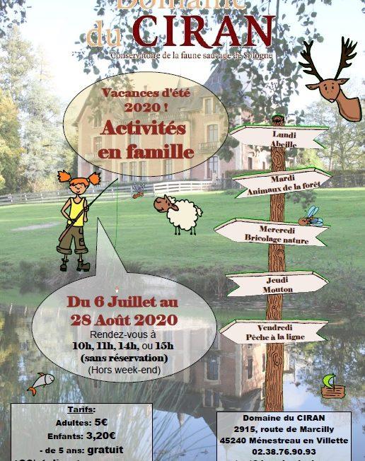 Les ateliers nature des vacances d'été à MENESTREAU-EN-VILLETTE © Domaine du Ciran