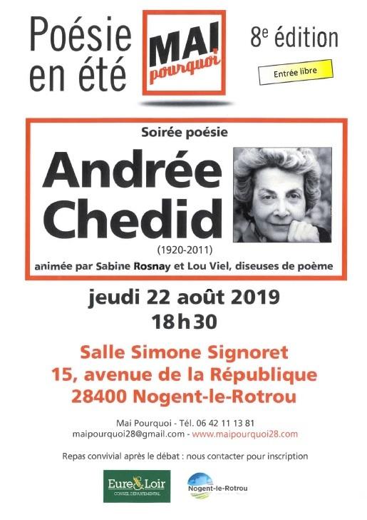 Soirée poésie Andrée Chedid à NOGENT-LE-ROTROU © mai pourquoi