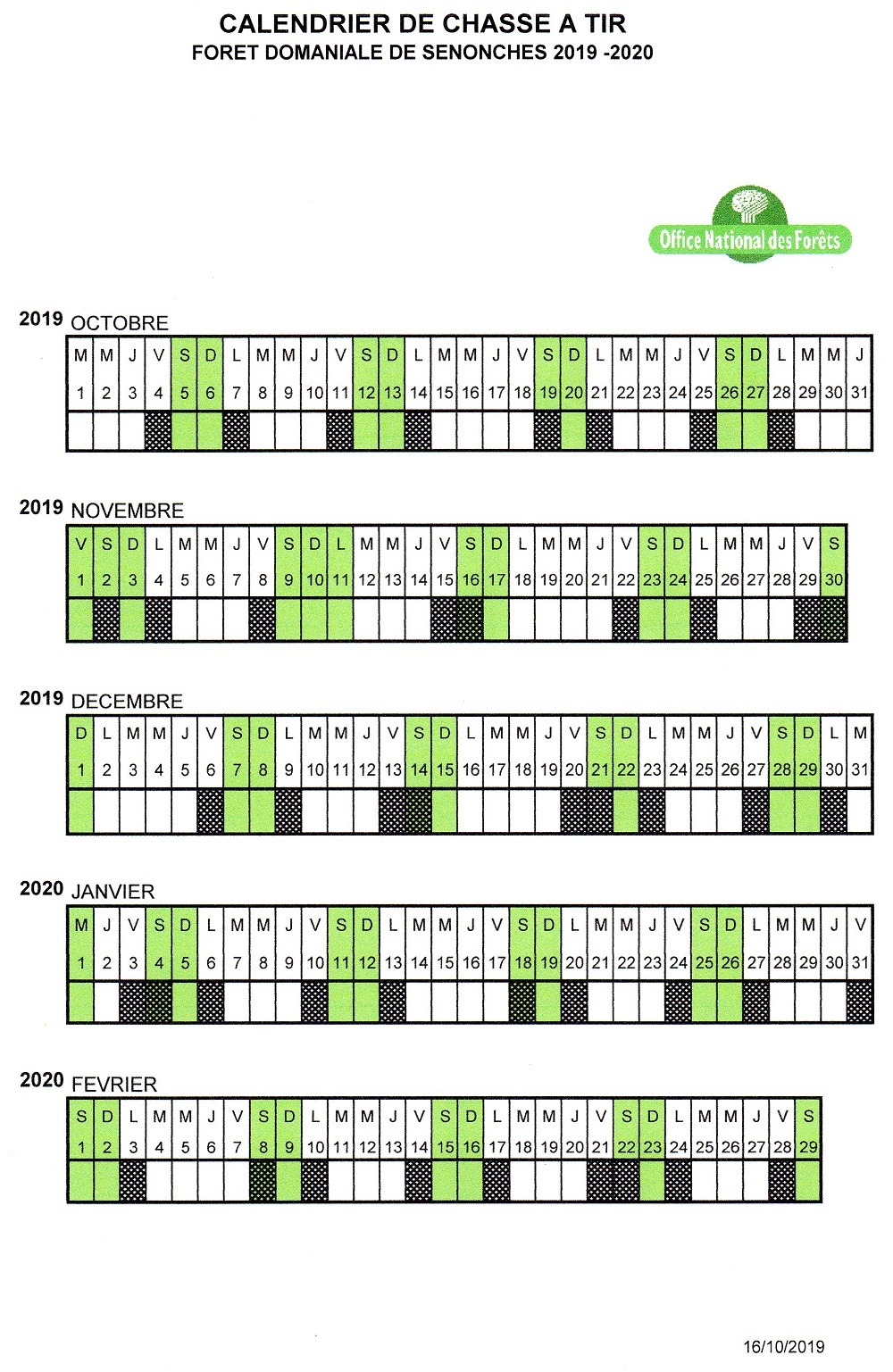Calendrier 2019 2020 de chasse à tir à SENONCHES © ONF