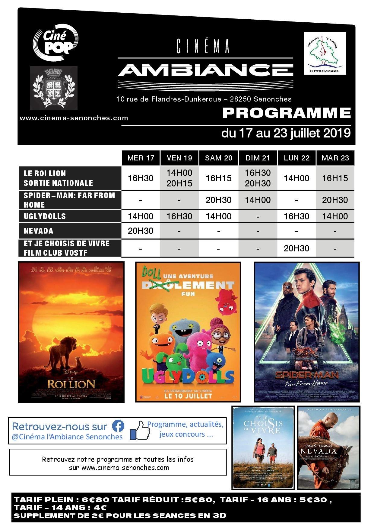 Programme cinéma à SENONCHES © cinéma l ambiance