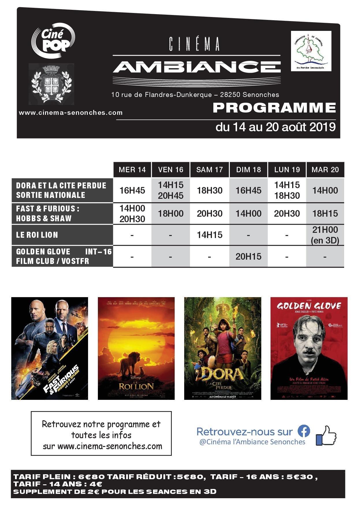 Programme cinéma à SENONCHES © CIN2MA L AMBIANCE