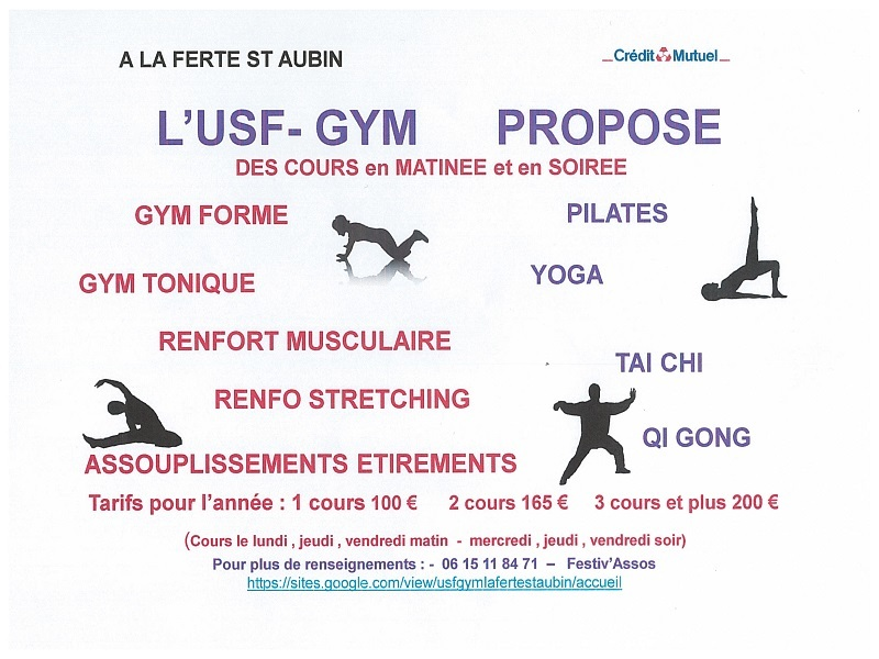 COURS DE GYM MATINEE ET SOIREE – USF-GYM LA FERTE SAINT AUBIN à LA FERTE-SAINT-AUBIN © usf-gym